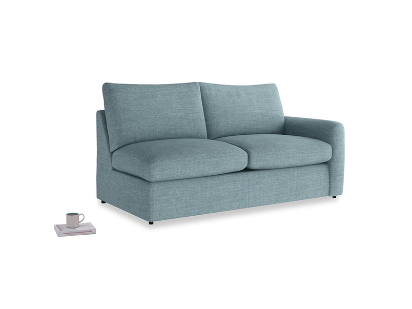 Chatnap Sofa Bed in Soft Blue Clever Laundered Linen with a right arm