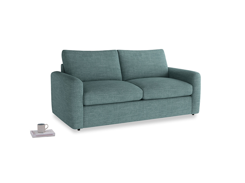 Chatnap Sofa Bed in Blue Turtle Clever Laundered Linen with both arms