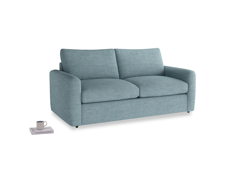 Chatnap Sofa Bed in Soft Blue Clever Laundered Linen with both arms