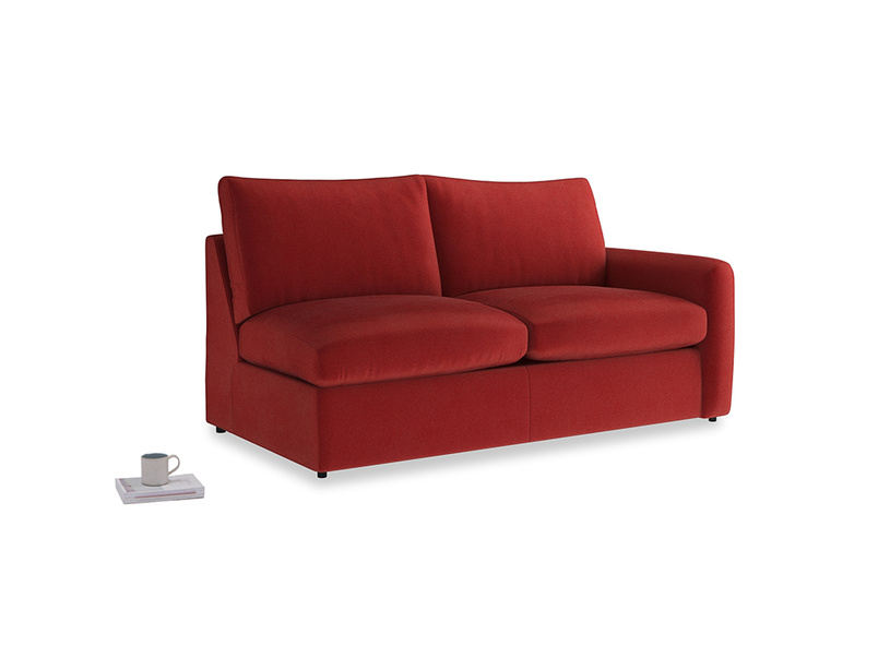 Chatnap Sofa Bed in Rusted Ruby Vintage Velvet with a right arm