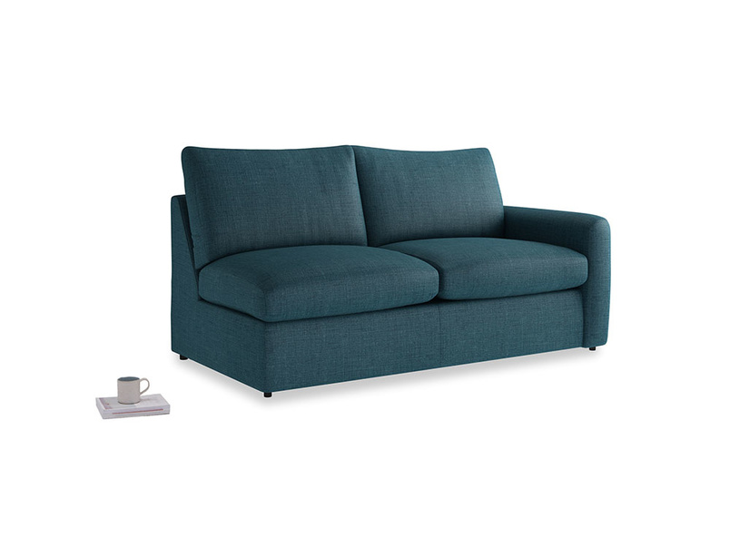 Chatnap Sofa Bed in Harbour Blue Vintage Linen with a right arm