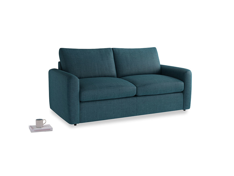Chatnap Sofa Bed in Harbour Blue Vintage Linen with both arms