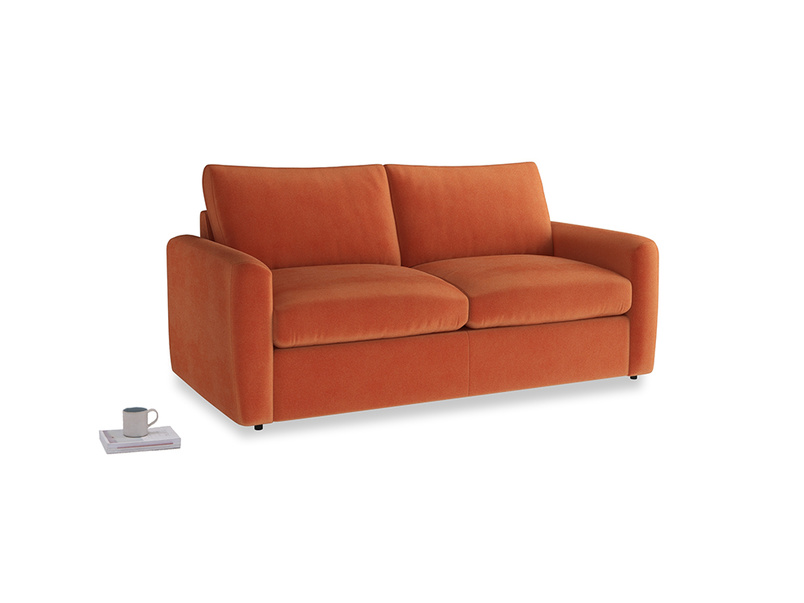 Chatnap Storage Sofa in Old Orange Clever Deep Velvet with both arms