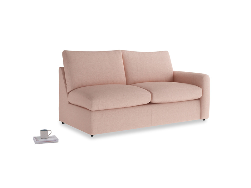 Chatnap Storage Sofa in Pale Pink Clever Woolly Fabric with a right arm