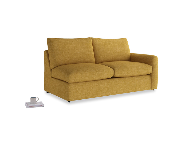 Chatnap Storage Sofa in Mellow Yellow Clever Laundered Linen with a right arm