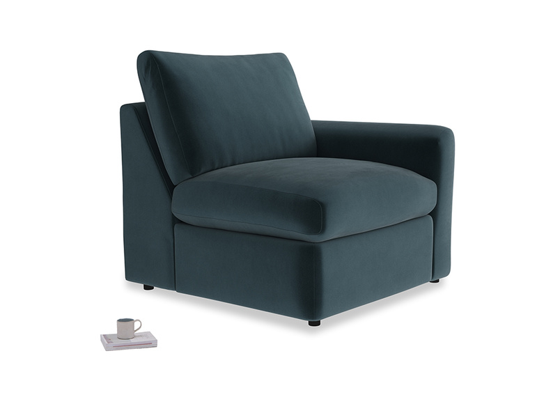 Chatnap Storage Single Seat in Bluey Grey Clever Deep Velvet with a right arm