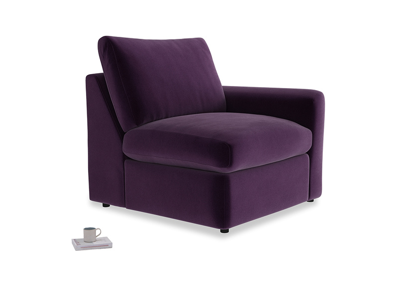 Chatnap Storage Single Seat in Deep Purple Clever Deep Velvet with a right arm