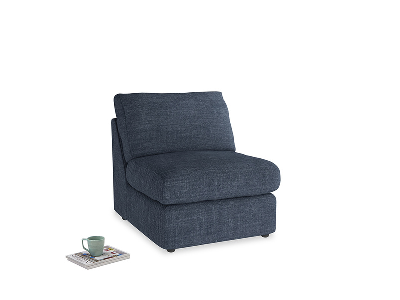 Chatnap Storage Single Seat in Selvedge Blue Clever Laundered Linen