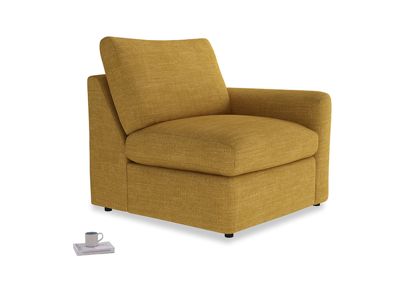 Chatnap Storage Single Seat in Mellow Yellow Clever Laundered Linen with a right arm