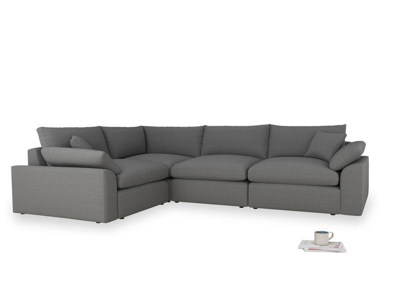 Large left hand Cuddlemuffin Modular Corner Sofa in Ash washed cotton linen