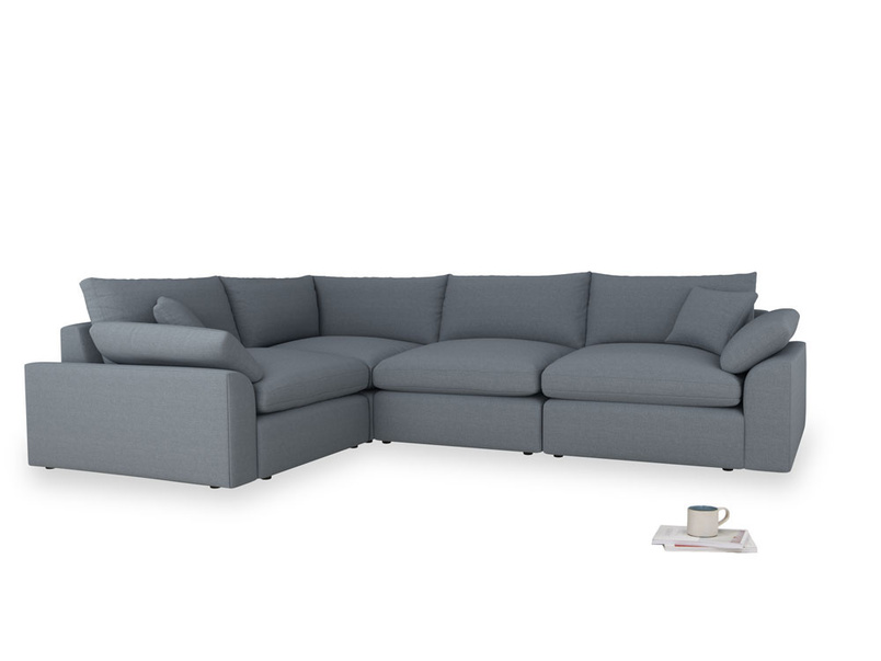 Large left hand Cuddlemuffin Modular Corner Sofa in Blue Storm washed cotton linen