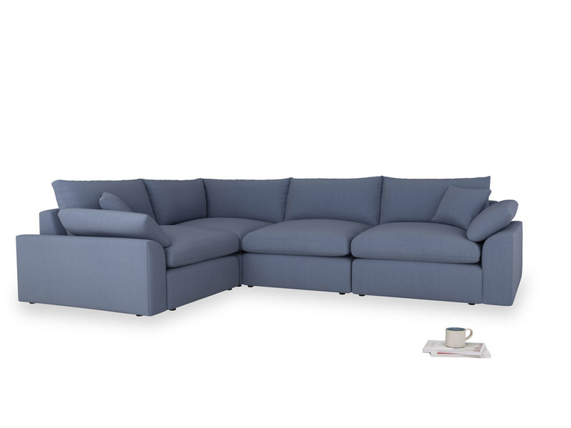 Large left hand Cuddlemuffin Modular Corner Sofa in Breton blue clever cotton