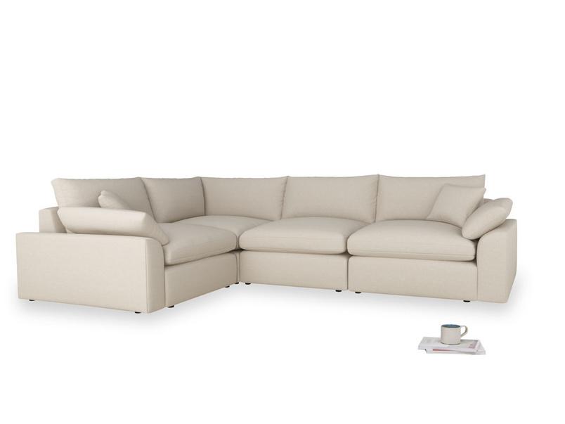 Large left hand Cuddlemuffin Modular Corner Sofa in Buff brushed cotton