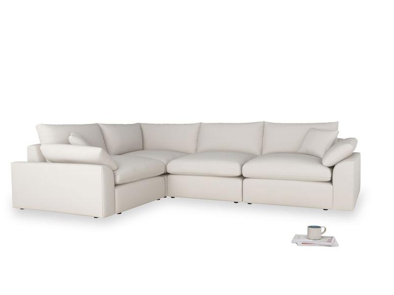 Large left hand Cuddlemuffin Modular Corner Sofa in Chalk clever cotton
