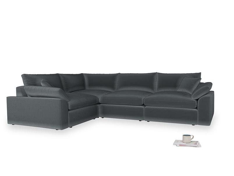 Large left hand Cuddlemuffin Modular Corner Sofa in Dark grey Clever Deep Velvet