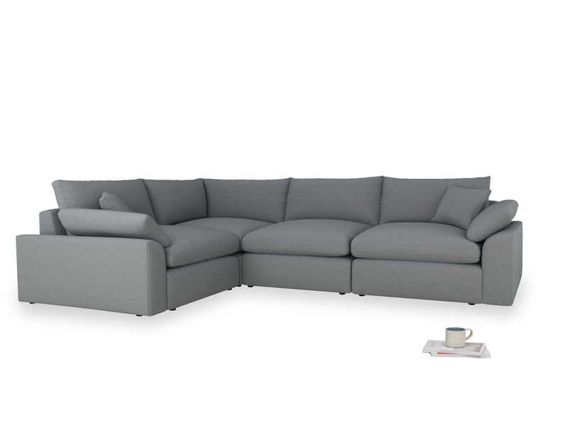 Large left hand Cuddlemuffin Modular Corner Sofa in Dusk vintage linen