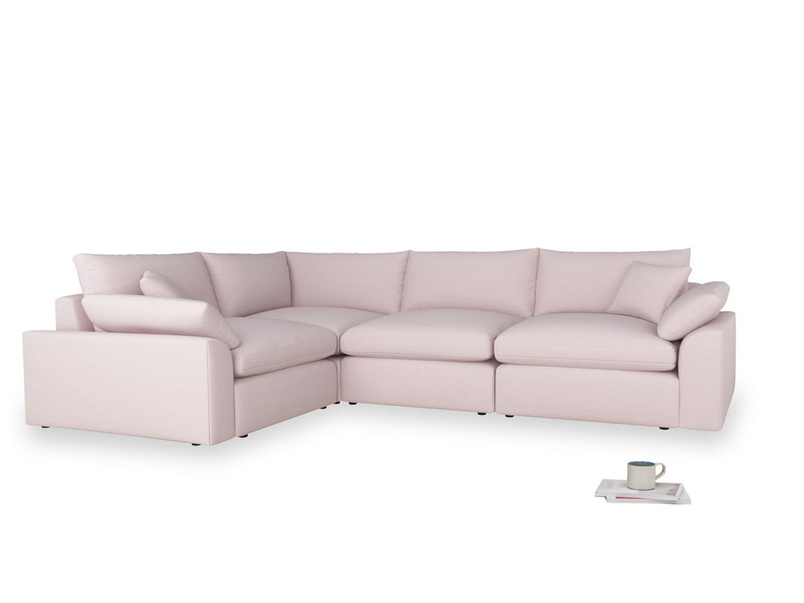 Large left hand Cuddlemuffin Modular Corner Sofa in Dusky blossom washed cotton linen