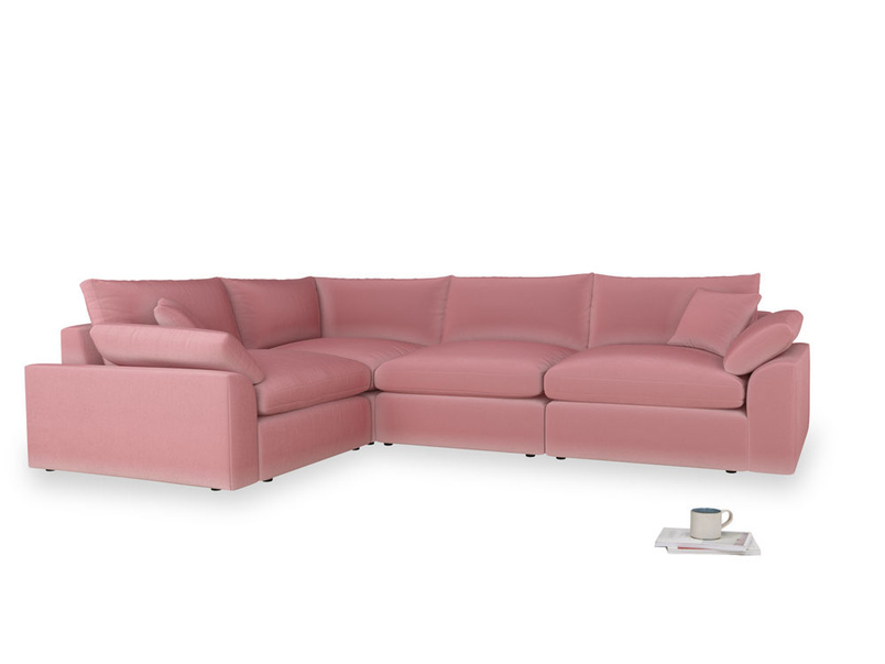 Large left hand Cuddlemuffin Modular Corner Sofa in Dusty Rose clever velvet