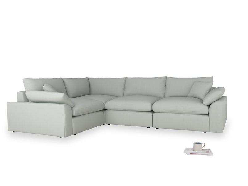 Large left hand Cuddlemuffin Modular Corner Sofa in Eggshell grey clever cotton