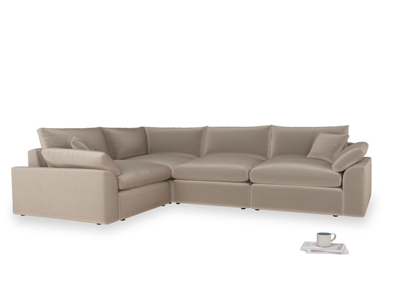 Large left hand Cuddlemuffin Modular Corner Sofa in Fawn clever velvet