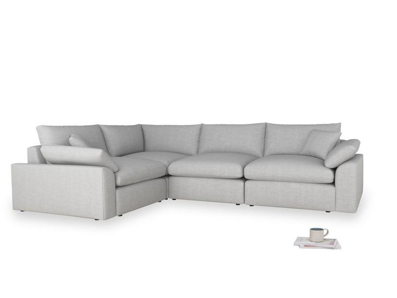 Large left hand Cuddlemuffin Modular Corner Sofa in Cobble house fabric