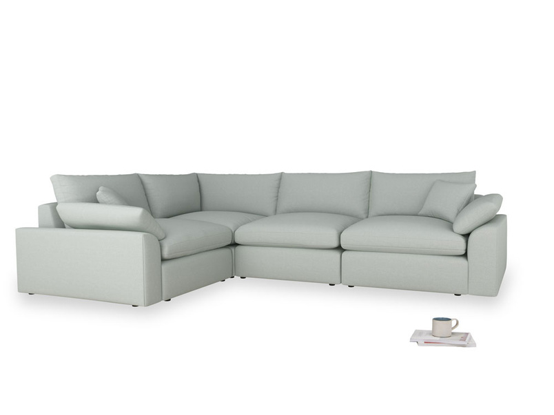 Large left hand Cuddlemuffin Modular Corner Sofa in French blue brushed cotton