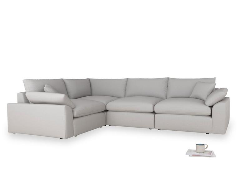Large left hand Cuddlemuffin Modular Corner Sofa in Flint brushed cotton