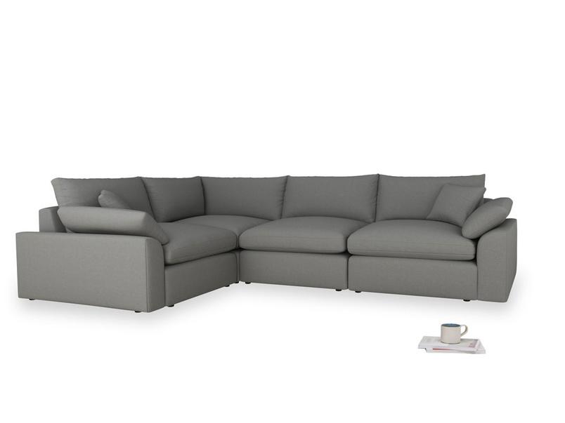 Large left hand Cuddlemuffin Modular Corner Sofa in French Grey brushed cotton