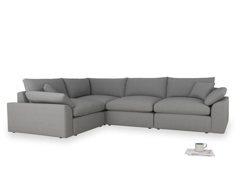 Large left hand Cuddlemuffin Modular Corner Sofa in Gun Metal brushed cotton