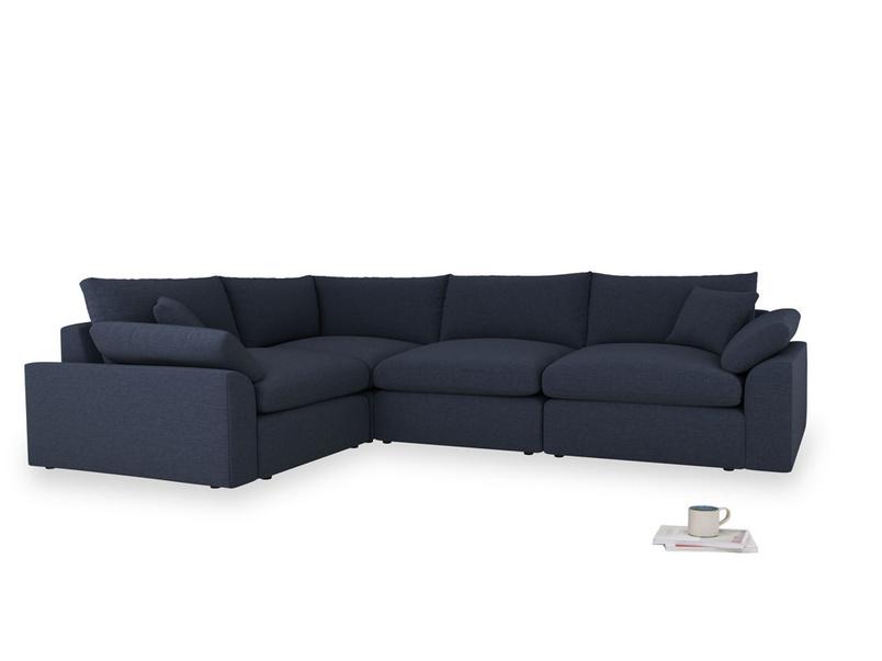 Large left hand Cuddlemuffin Modular Corner Sofa in Indigo vintage linen