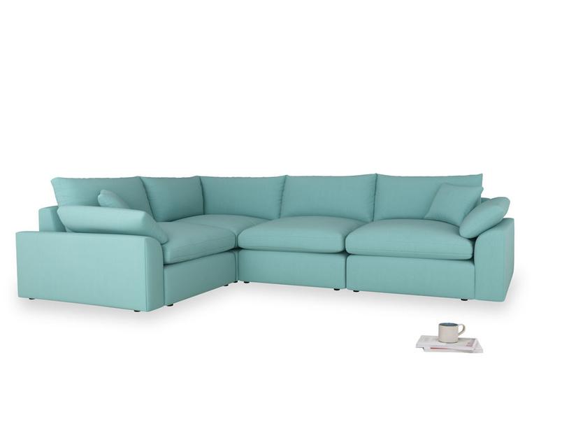 Large left hand Cuddlemuffin Modular Corner Sofa in Kingfisher clever cotton