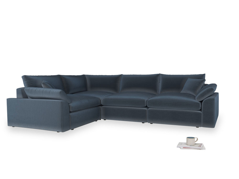 Large left hand Cuddlemuffin Modular Corner Sofa in Liquorice Blue clever velvet
