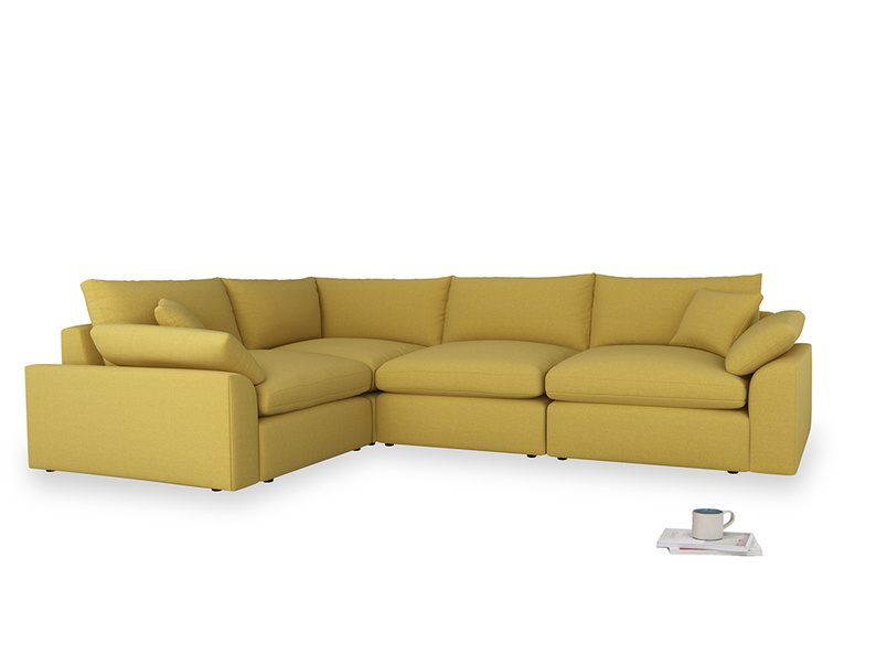 Large left hand Cuddlemuffin Modular Corner Sofa in Maize yellow Brushed Cotton