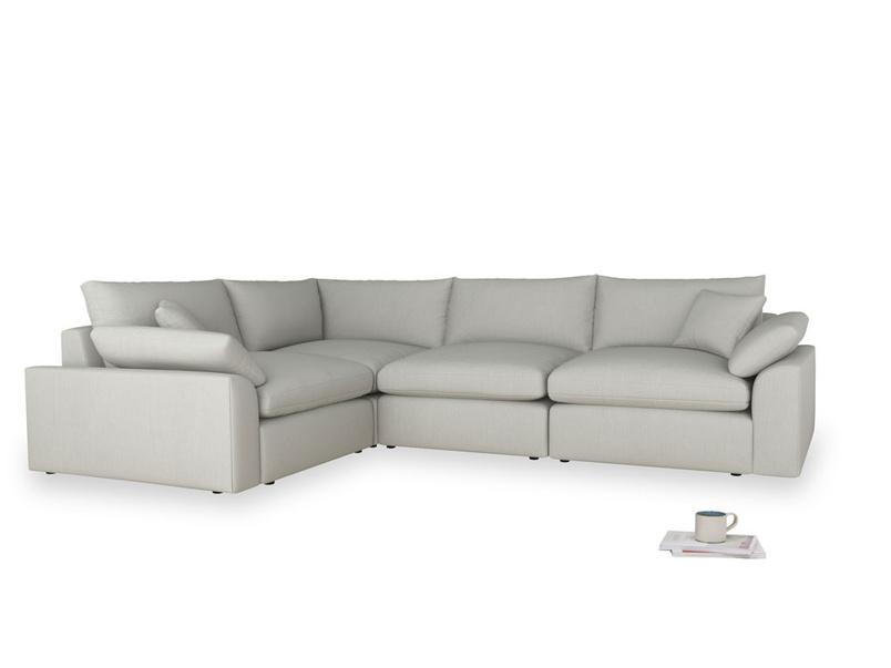 Large left hand Cuddlemuffin Modular Corner Sofa in Mineral grey clever linen