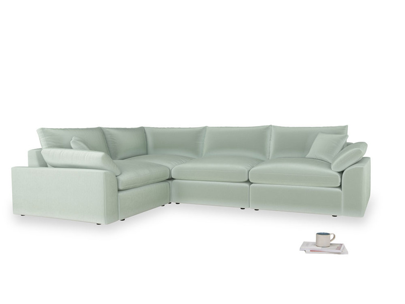 Large left hand Cuddlemuffin Modular Corner Sofa in Mint clever velvet