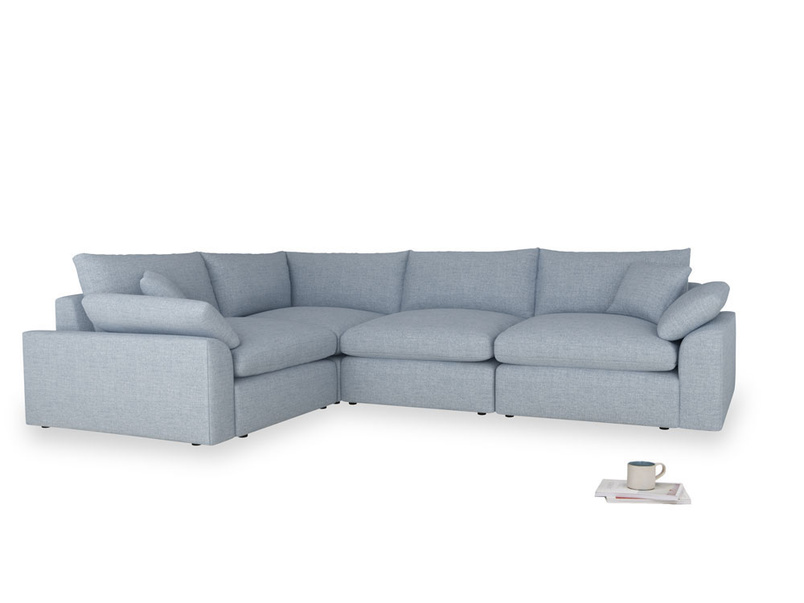 Large left hand Cuddlemuffin Modular Corner Sofa in Frost clever woolly fabric