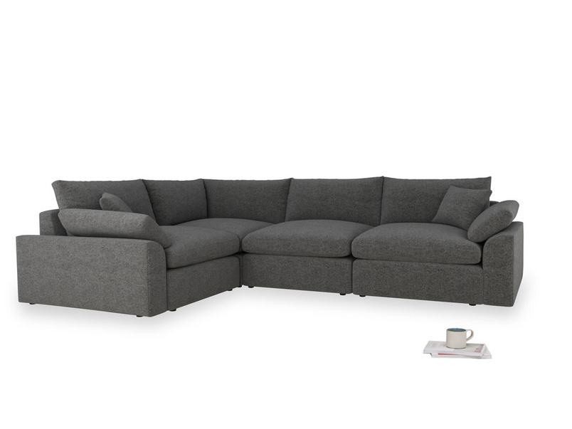 Large left hand Cuddlemuffin Modular Corner Sofa in Shadow Grey wool