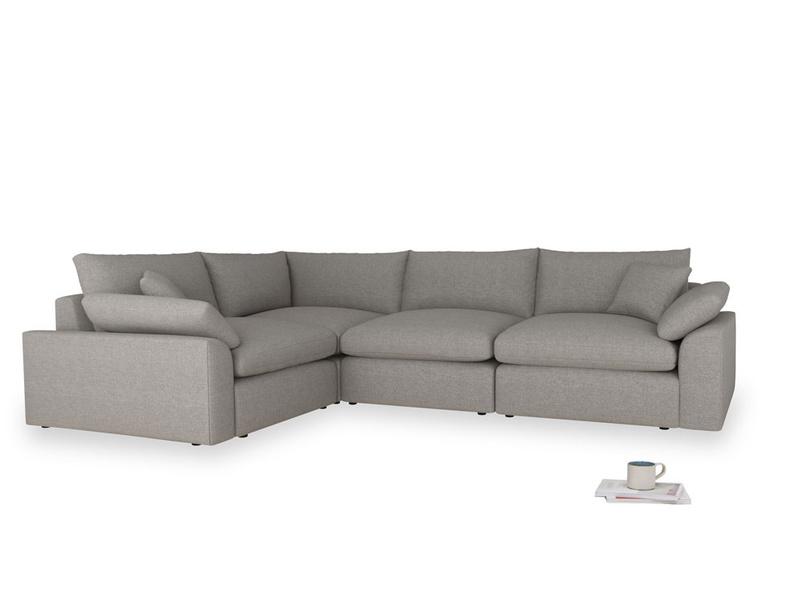 Large left hand Cuddlemuffin Modular Corner Sofa in Marl grey clever woolly fabric