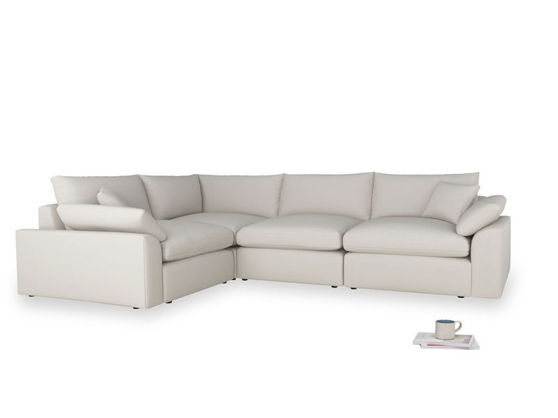 Large left hand Cuddlemuffin Modular Corner Sofa in Moondust grey clever cotton