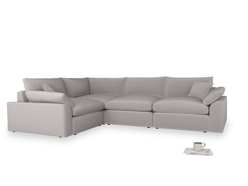 Large left hand Cuddlemuffin Modular Corner Sofa in Mouse grey Clever Deep Velvet