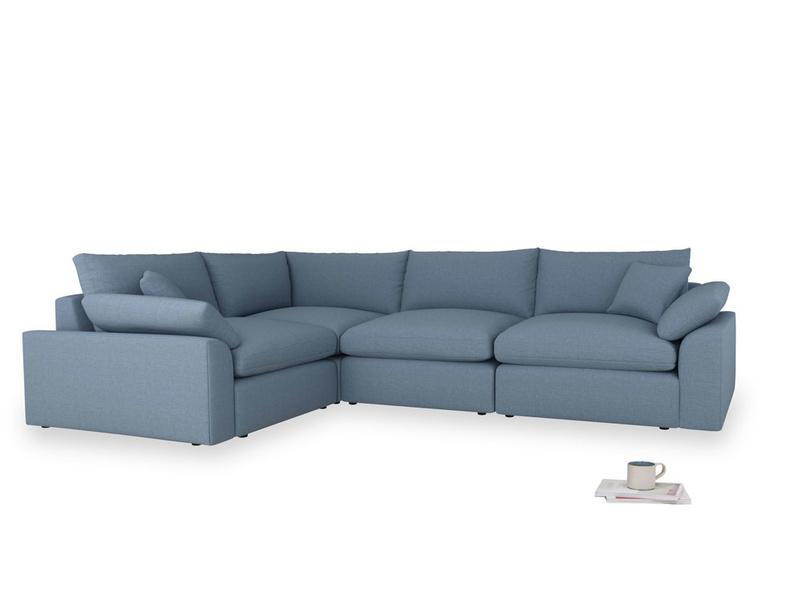 Large left hand Cuddlemuffin Modular Corner Sofa in Nordic blue brushed cotton