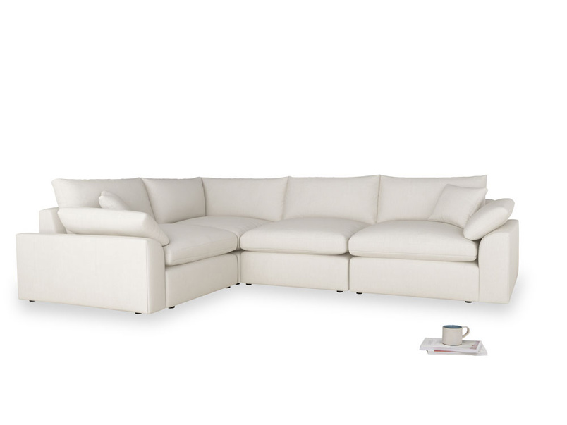 Large left hand Cuddlemuffin Modular Corner Sofa in Oyster white clever linen