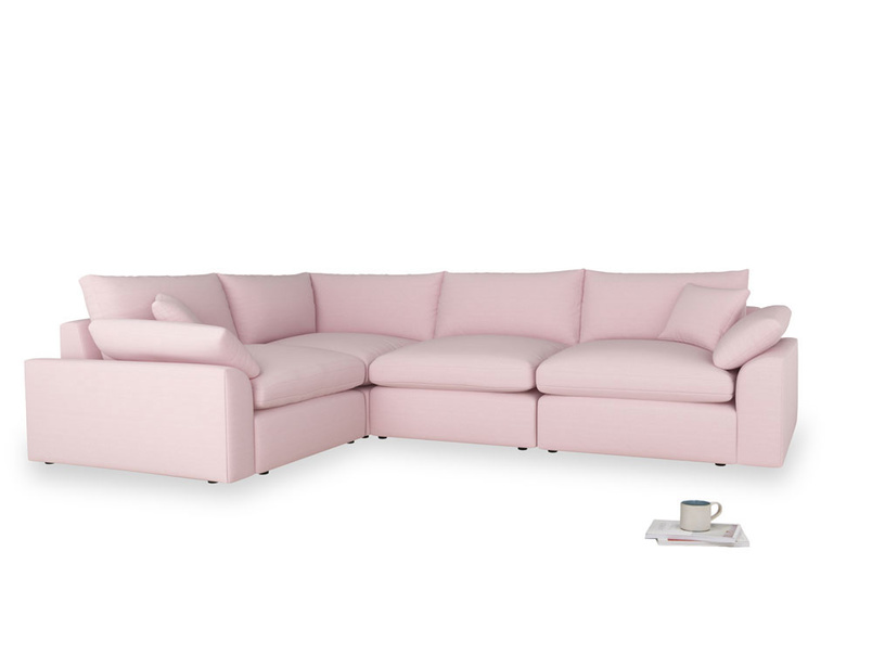 Large left hand Cuddlemuffin Modular Corner Sofa in Pale Rose vintage linen