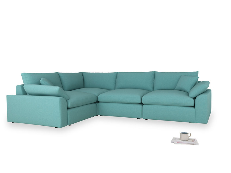 Large left hand Cuddlemuffin Modular Corner Sofa in Peacock brushed cotton