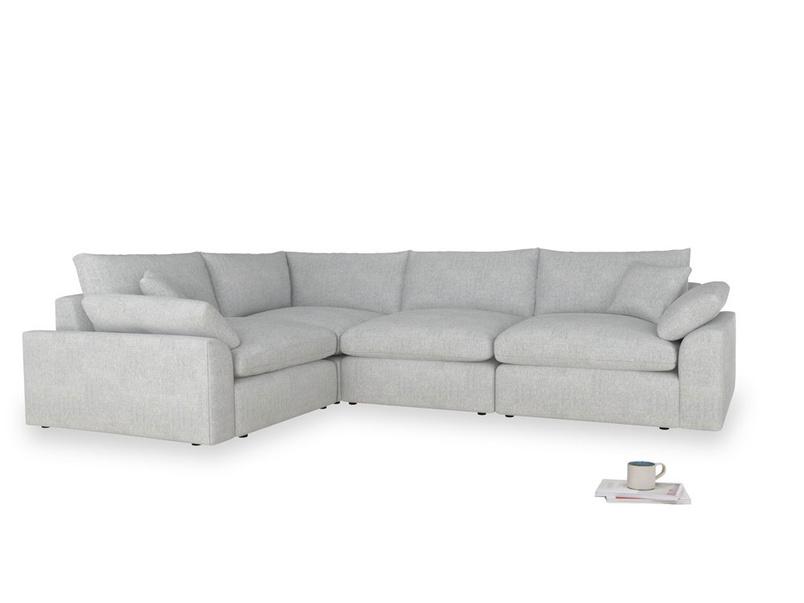 Large left hand Cuddlemuffin Modular Corner Sofa in Pebble vintage linen
