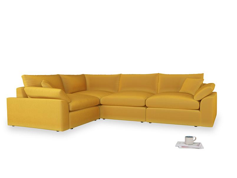 Large left hand Cuddlemuffin Modular Corner Sofa in Pollen Clever Deep Velvet