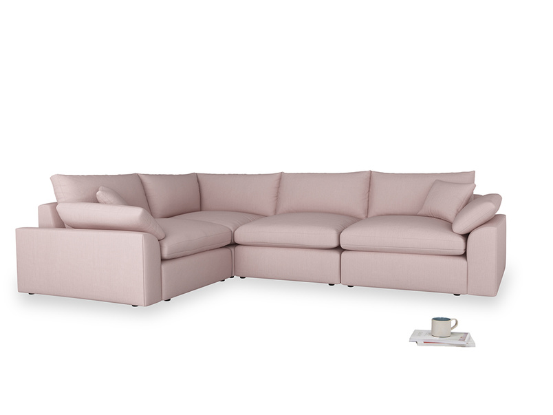 Large left hand Cuddlemuffin Modular Corner Sofa in Potter's pink Clever Linen