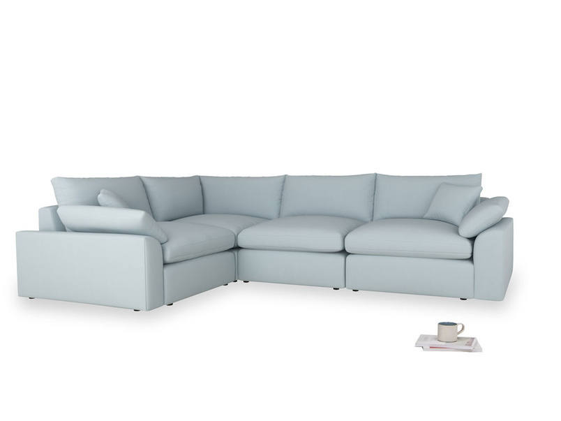 Large left hand Cuddlemuffin Modular Corner Sofa in Scandi blue clever cotton