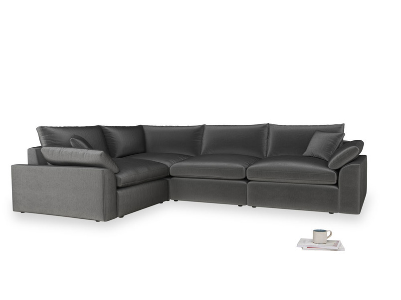 Large left hand Cuddlemuffin Modular Corner Sofa in Scuttle grey vintage velvet