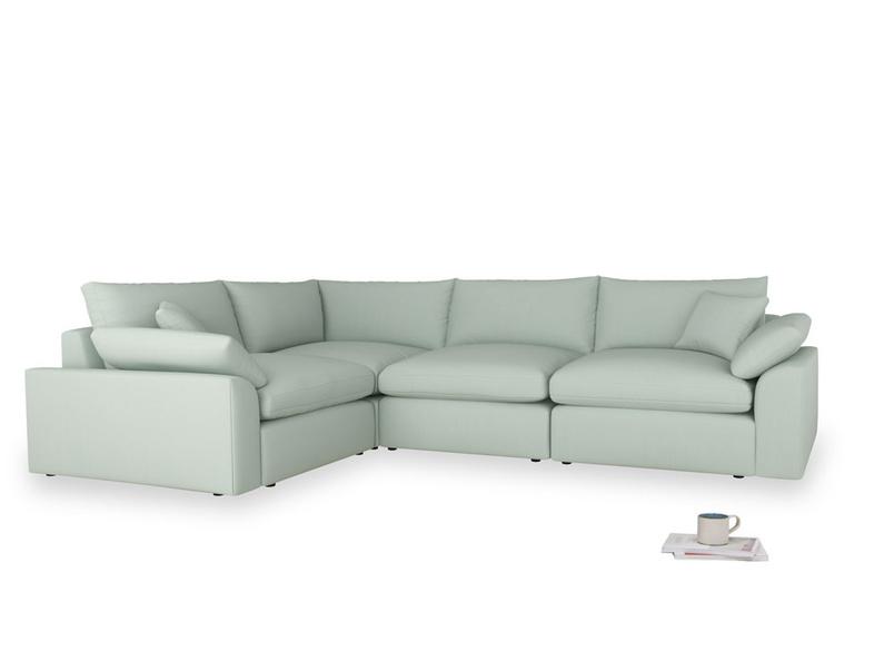 Large left hand Cuddlemuffin Modular Corner Sofa in Sea surf clever cotton